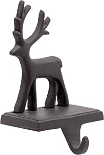 Red Co. Brown Cast Iron Reindeer Stocking Holder with Hook Rustic Home Christmas Décor for Mantel, Fireplace, Dresser