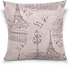 "MASSIKOA Retro Paris Eiffel Tower Birds Decorative Throw Pillow Case Square Cushion Cover 20"" x 20"" for Couch, Bed, Sofa o..."