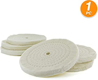 Ram-Pro Extra Thick Buffing Polishing Wheel for Bench Grinder Buffer White Polisher Tool with Arbor Hole Soft Cotton Large Surface Circles Buffing and Polishing Wheel