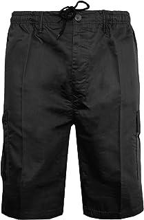 Mens Plain Shorts & 3/4 Three Quarter Length Shorts Cargo Combat Casual Summer Beach Poly Cotton 6 Pockets Work Short & ¾ ...