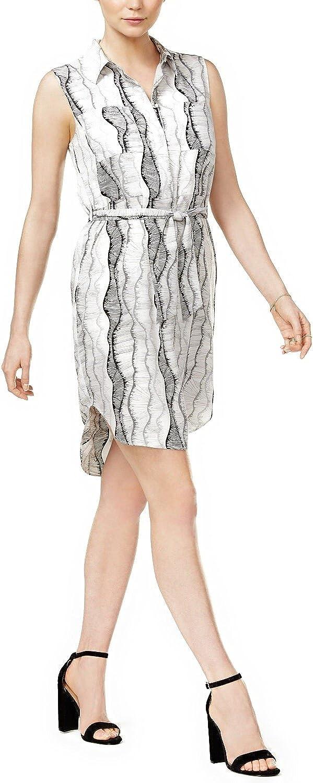 Bar Iii Womens Printed Sash Shirt Dress