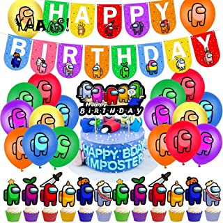Among Us Birthday Party Supplies,Include Happy Birthday Banner,Cake Topper,12 Cupcake Toppers, 24 Balloons for Kids Among ...