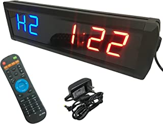 GAN XIN 1.8'' High 6 Digits LED Interval Timer, with Countdown up Clock, 12/24-Hour Real Time Clock, Stopwatch by Remote Control, for TABATA/FGB, GYM BOXING, EMOM, MMA.