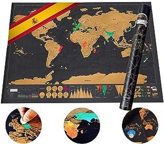 Mini Mapa del Mundo para Rascar, Tumao 16.7 * 11.8Inch Mini Mapa Mundial del Rasguño Mapa Físico-político Con Naciones De Colores Para Rascar Individualmente,hay Tubo?Embalaje de carrete?