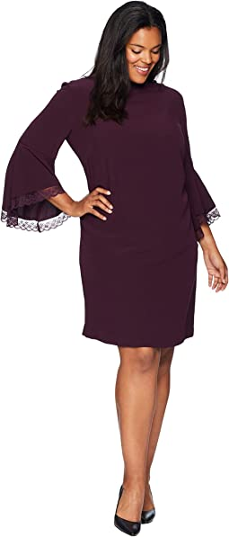 Plus Size Long Bell Sleeve Crepe/Lace Shift Dress with Mock Neckline