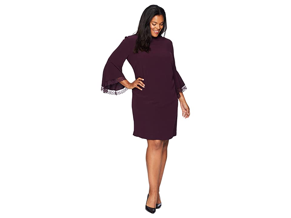 Tahari by ASL Plus Size Long Bell Sleeve Crepe/Lace Shift Dress with Mock Neckline (Aubergine) Women