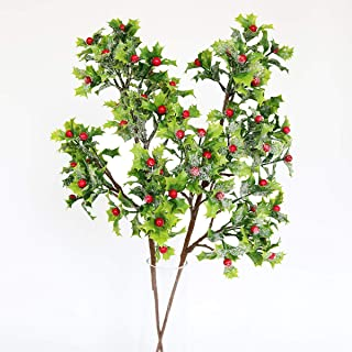 MUFEN 2pcs Artificial Mistletoe Branches Fake Red Berries Holly Leaves Faux Snow for Christmas Festival Hanging Decoration (Green)