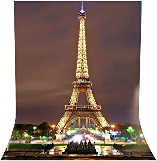 LYLYCTY 5x7ft Paris City Photo Backdrop Eiffel Tower Night View Photography Background French Video Studio Photo Backdrop Props BG066