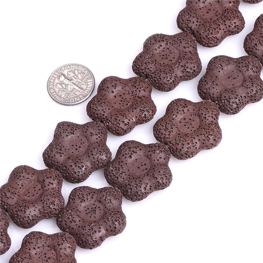 27mm Flower Shape Lava Rock Beads Strand 15 Inch Jewelry Making Beads