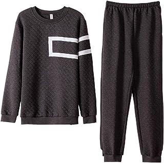 HUOFEIKE Super Soft Cotton Mens 2 Piece Pyjamas, Thicken Loungewear Tracksuit Warm Nightwear Top and Bottoms Cold Winter G...
