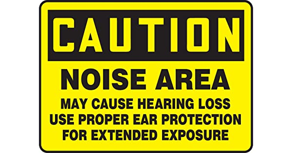 LegendCaution Noise Area May Cause Hearing Loss USE Proper Ear Protection for Plastic Black on Yellow 7 Length x 10 Width x 0.055 Thickness 7 x 10 Accuform MPPE402VP Sign