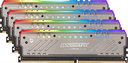 Crucial Ballistix Tactical Tracer RGB 3000 MHz DDR4 DRAM Desktop Gaming Memory Kit 32GB (8GBx4) CL16 BLT4K8G4D30BET4K