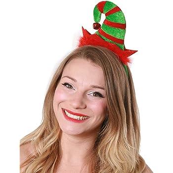Adult Christmas Elf Hat /& Ears Xmas Santa/'s Helper Stripy Hats Fancy Dress Pixie