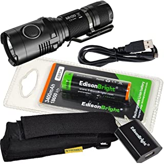EdisonBright Nitecore MH20 CREE LED 1000 Lumen USB Rechargeable super compact Flashlight, 3400mAh 18650 rechargeable Li-ion battery, USB charging cable, Holster and USB charger bundle