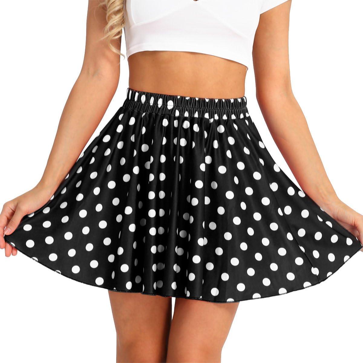 CHICTRY Women's High Waist Polka Dot Retro Flared Skater Mini Skirt