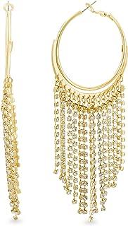 STEVE MADDEN Yellow Gold Tone Large Fringe Design Hoop Earrings For Women