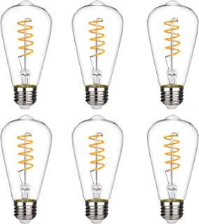 Vintage LED Edison Bulb, Warm White 2700K, Antique Style Flexible Spiral LED Filament Light Bulb, 4.5W Equivalent to 40W, ST19(ST64) Dimmable 450LM E26 Medium Base, Clear Glass (4.5W-2700K-6 Pack)
