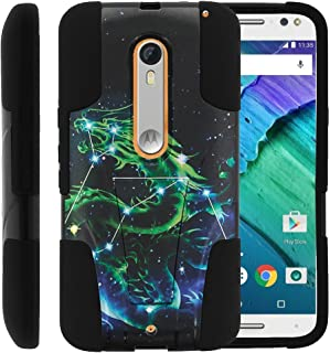 MINITURTLE Compatible with Motorola Moto X Style Case, Moto X Pure Cover [Strike Impact] Dual Layer Hard Plastic Rugged Shell Soft Silicone w/Stand Dragon Stars
