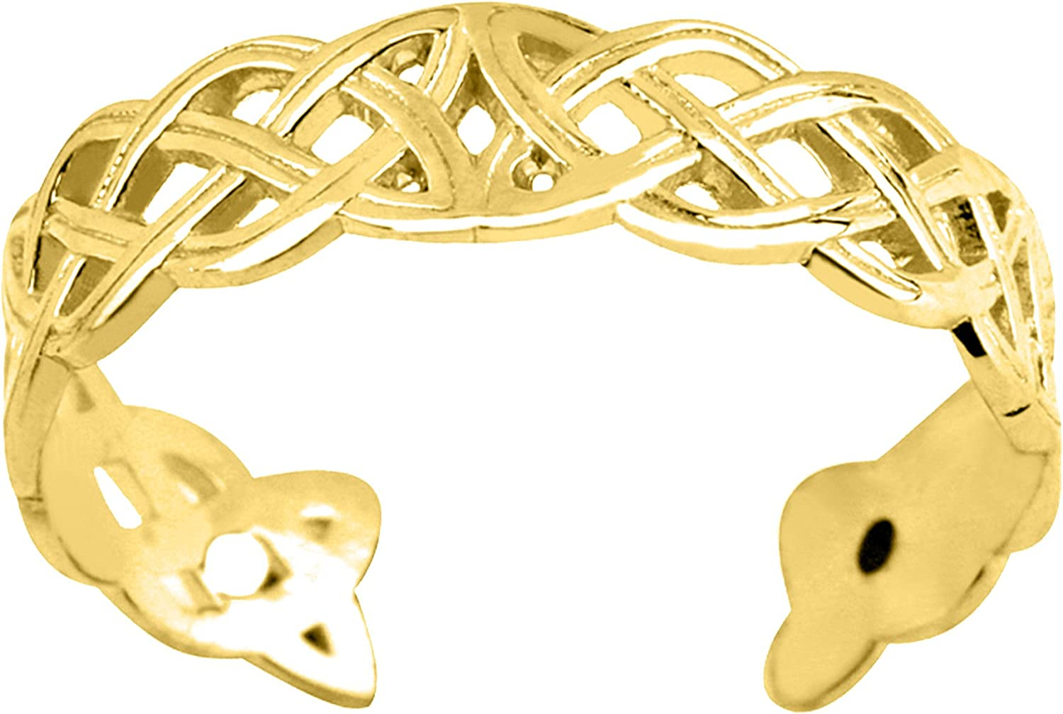 14K Yellow Gold Celtic Knot Weave Design Cuff Style Adjustable Toe Ring 4mm