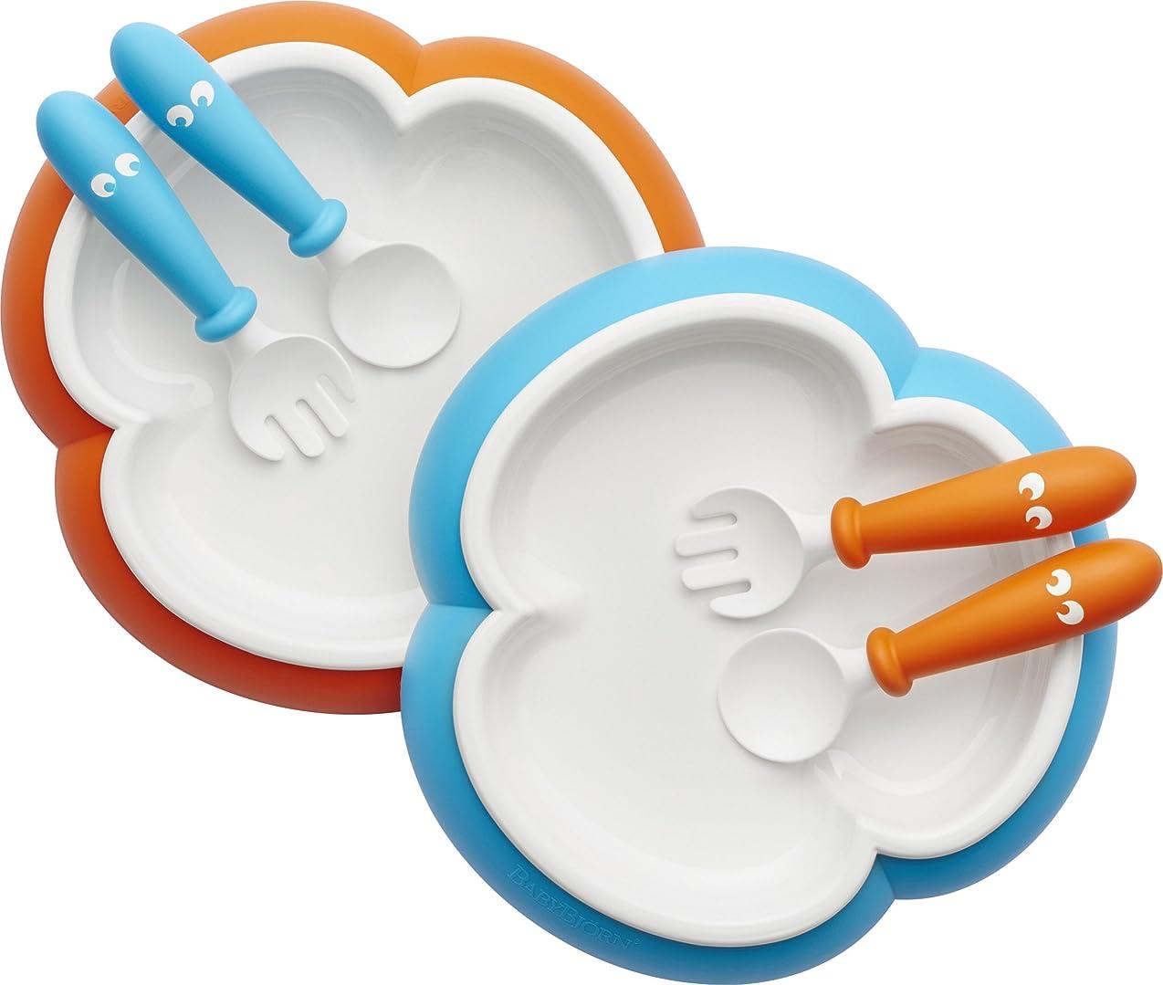 ブロンズ支配的驚いたBABYBJORN Baby Plate, Spoon and Fork - Orange/Turquoise, by BabyBj?rn