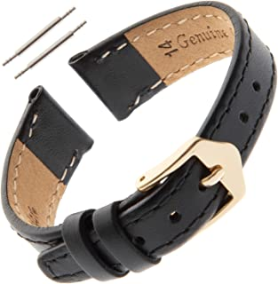 Ladies 8-14mm Stitched Calfskin Flat Black Watch Band FS60