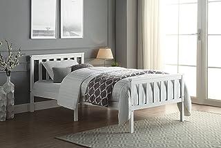 Enkel säng ***Inklusive madrasser****. Bäddsram i massivt trä med fjädermadrass