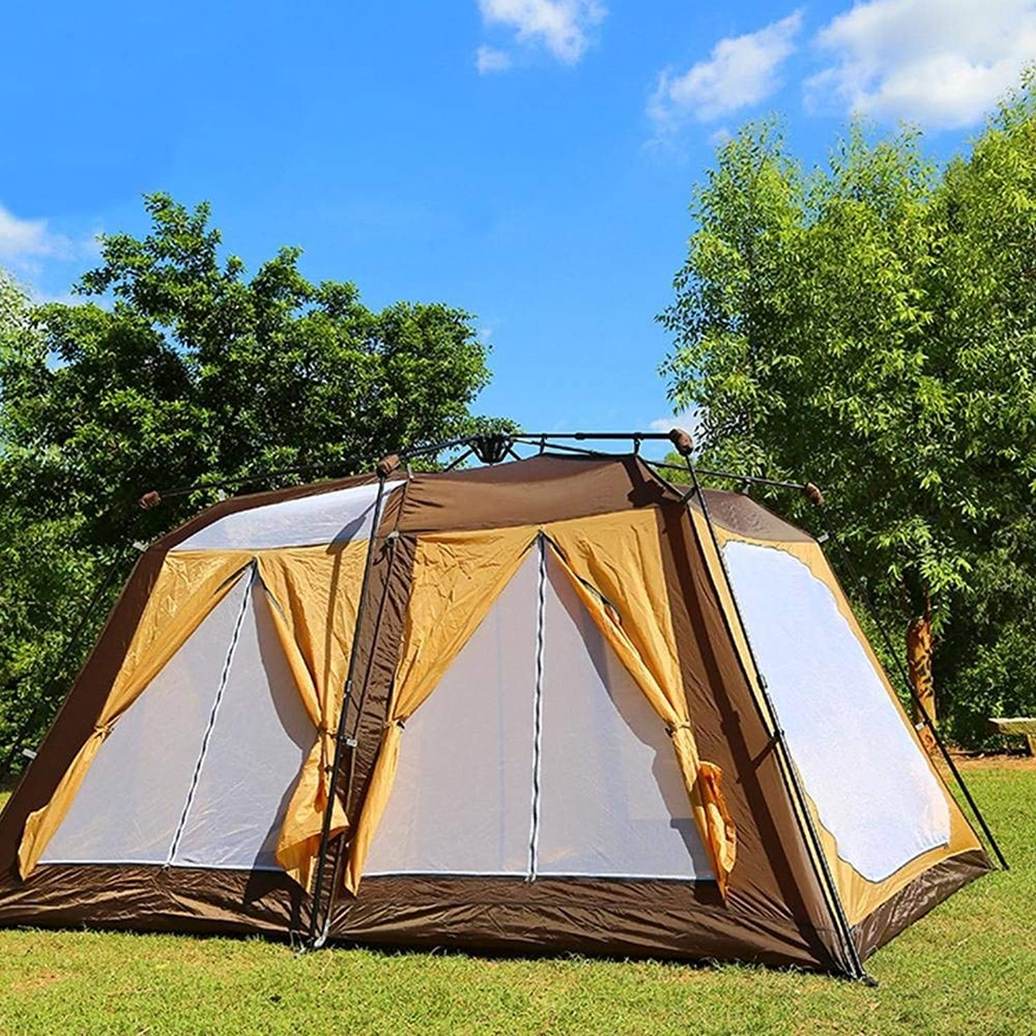 Outdoor Camping Tent 68 People Double Layer Ultra Light Portable Folding Sunscreen Waterproof Family Friends Travel Beach Holiday Picnic Park Lawn Fishing