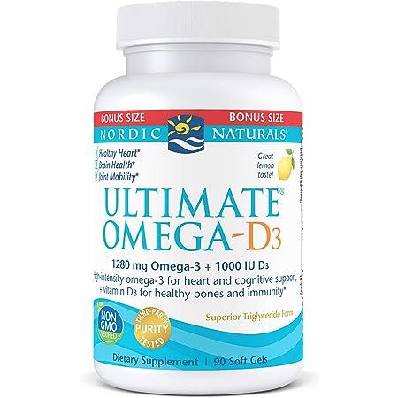 Nordic Naturals Ultimate Omega-D3, Lemon Flavor - 1280 mg Omega-3 + 1000 IU Vitamin D3-90 Soft Gels - Omega-3 Fish Oil - EPA & DHA - Promotes Brain, Heart, Joint, & Immune Health - 45 Servings