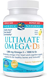 Nordic Naturals Ultimate Omega-D3, Lemon Flavor - 1280 mg Omega-3 + 1000 IU Vitamin D3-90 Soft Gels - Omega-3 Fish Oil - E...