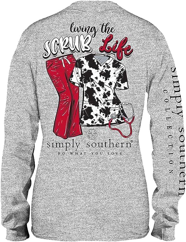 Simply Southern Women's Living The Scrub Life Cow Print Scrubs Long Sleeve T-Shirt