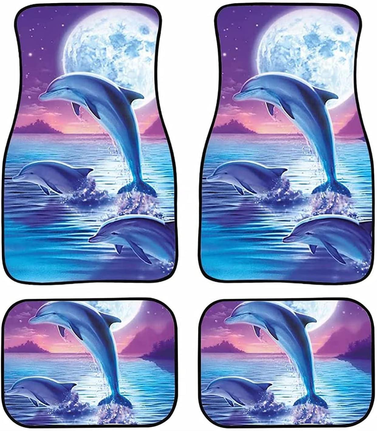 Max 55% OFF LedBack Ocean Dolphin Moon Night Print Car o Mats Full Floor Long Beach Mall Set