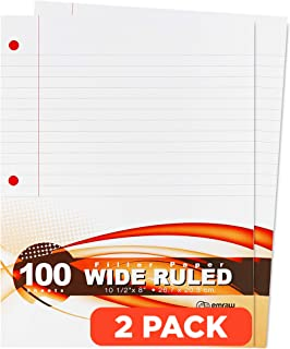"""Emraw Wide Ruled Filler Paper, Perfect for Normal Everyday Notetaking 8""""x10.5"""" x 0.32"""" Inch, 2 Pack - 100 Sheets Per Pack..."""