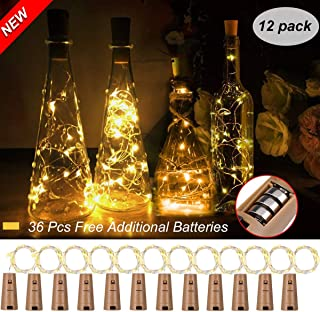 Unihoh CorkLightsforWineBottle, Warm White 10 Pack Battery Operated Led WineCorkLights Silver Copper Wire CorkFairyLights for DIY, Party, Decor, Christmas, Wedding