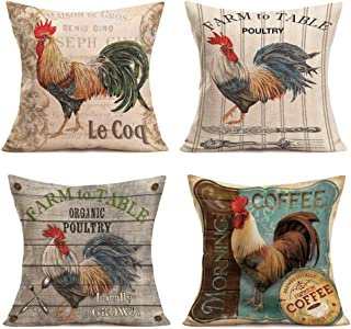 Royalours Pillow Covers Vintage Farmhouse Rooster with Lettering Throw Pillow Covers Cotton Linen Poultry Chicken Decorati...