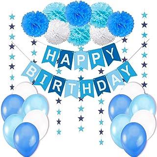 """Decoraciones Cumpleaños Niño – 1 Bandera Banderines Feliz Cumpleaños """"Happy Birthday"""" + 8 Pompon Bola de Flor + 2 Guirnaldas Estrellas de 3 metros + 12 Globos Azul Blanco Turquesa"""