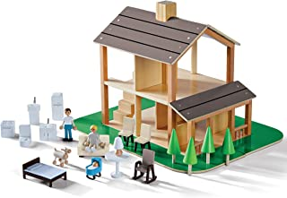 FAO Schwarz 36-Piece Wooden Dollhouse, Best Toy for Girls and Boys, Includes Furniture and Accessories, Flip The Roof to g...