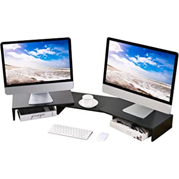 5Rcom Dual Monitor Stand 3 Shelves Desk Riser with Adjustable Length and Angle Computer TV PC Laptop Screen Stand,Multi Desktop Stand Storage Organizer for iMac,Printer,Notebook