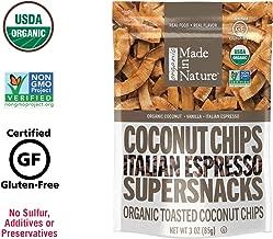 Made in Nature Organic Italian Espresso Toasted Coconut Chips, 3oz (6-Pack) - Non-GMO Vegan Super Snack