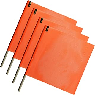 Vulcan Brands Bright Orange Safety Flag with Dowel for Oversized and Wide Loads (18'' x 18'' - Vinyl Coated Nylon Mesh Construction - 4 Pack)