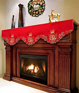 Grelucgo Christmas Holiday Mantel Scarf, Runner, Winter Decorations 69 by 17 Inch