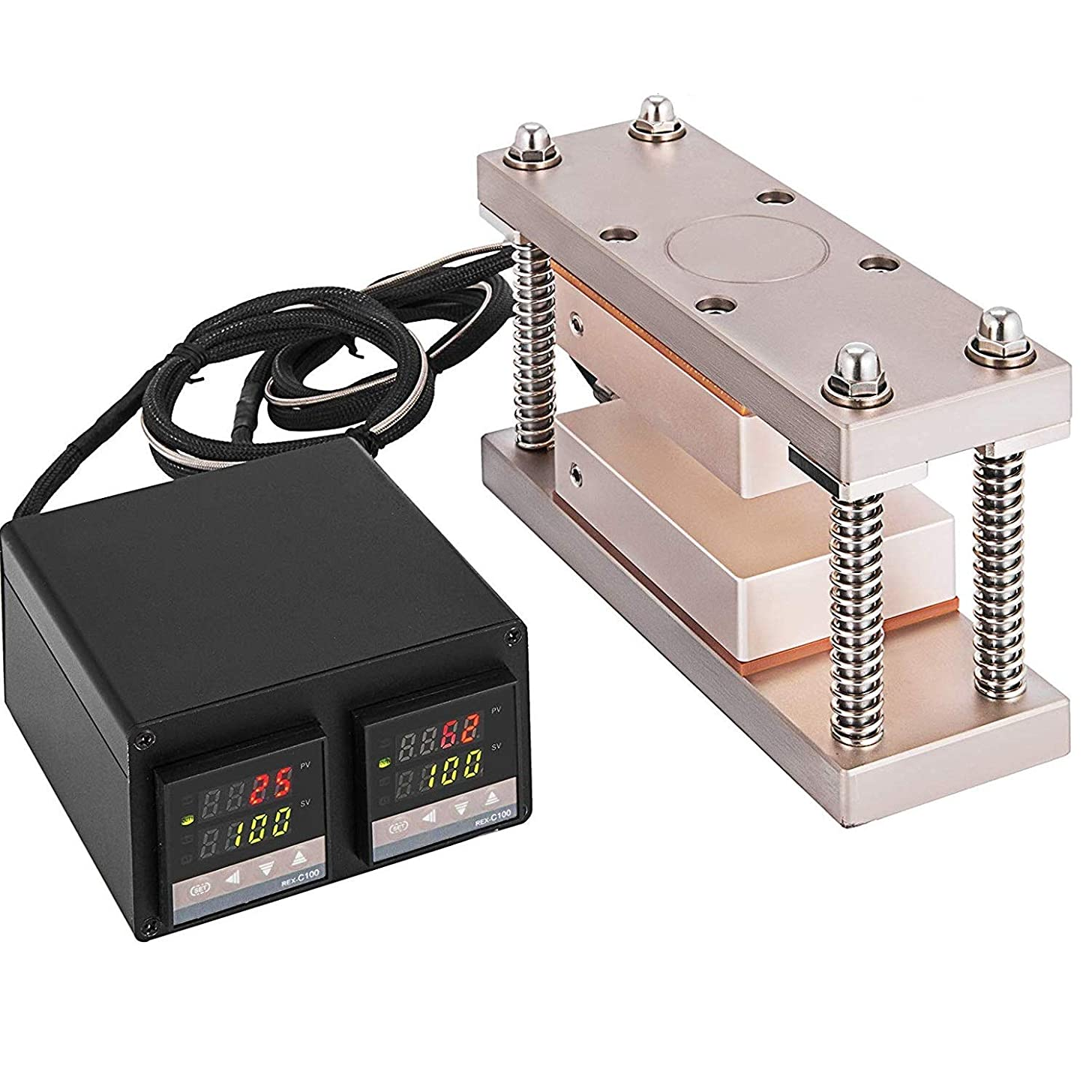 """Tech-L Heat Press Plates 3X7"""" Heat Press Kit with Double Digital Display Temperature Controller Box (3X7"""" 600W)"""