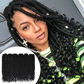 GX Beauty Goddess Locs Crochet Hair 20Inch Faux Locs with Curly Ends 6Pcs/Lot Straight Jumbo Goddess Locs Braiding Hair Extensions(1B#)