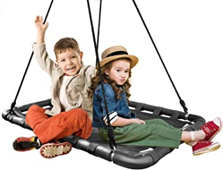 Sorbus Spinner Platform Swing – Kids Indoor/Outdoor Rectangular Mat Swing – Great for Tree, Swing Set, Backyard, Playground, Playroom – Accessories Included (40 x 30, Square Black)