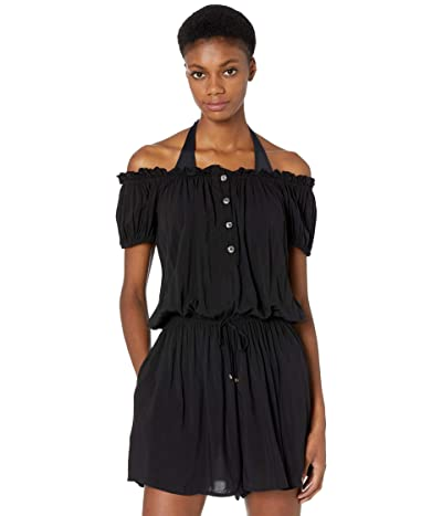 Kate Spade New York Heart Buckle Off-the-Shoulder Cover-Up Romper