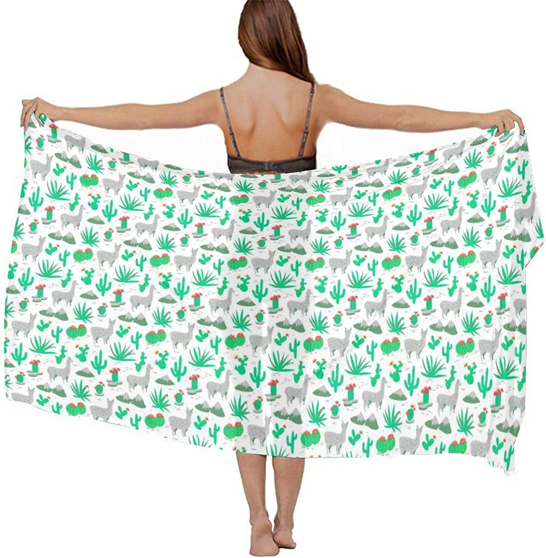 Women's Chiffon Cute Funny Alpaca Llama Cactus Flowers Floral Mint Green Beach Scarf Smooth Sunscreen Wrap Shawl Scarves Bikini Cover-Up Wrap Scarf Swimsuit Sarongs Summer Beach Cover Ups