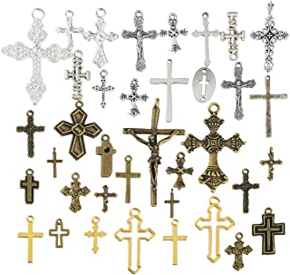 Pllieay 100g Mixed Crosses Charms Pendants Antique Crosses Charms Pendants for Jewelry Making, DIY Necklace, Bracelets, Earrings and Other Fashion Accessories