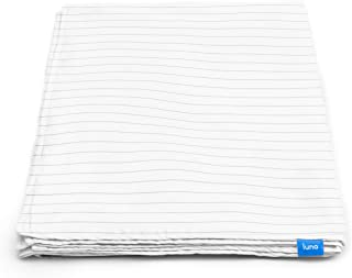 LUNA Removable Duvet Cover for Weighted Blanket (60x80 - Queen Size) – 100% Organic Oeko-Tex Cooling Cotton – Machine Washable & 8 Ties for Secure Fastening – Designed in USA – Grey Striped