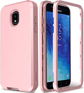 AMENQ Galaxy J3 Orbit S367VL/J3 Achieve/J3 Star/J3 Lune Pro 2018/Express Prime 3/J3 V 3rd Gen/J3 2018 Case, Hybrid 3 in 1 Rugged Soft TPU Silicone Shockproof Protective Armor Back Cover (Rose Gold)