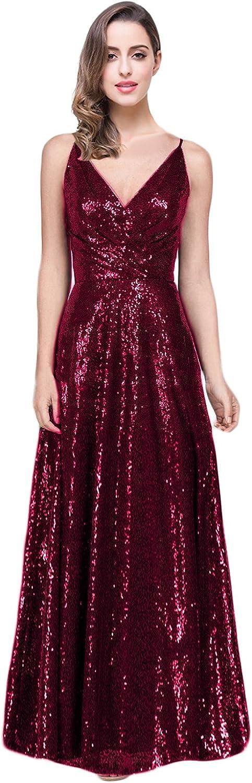 YSMei Women's Straps Sequins Bridesmaid Dress Long V Neck Evening Party Gown P39