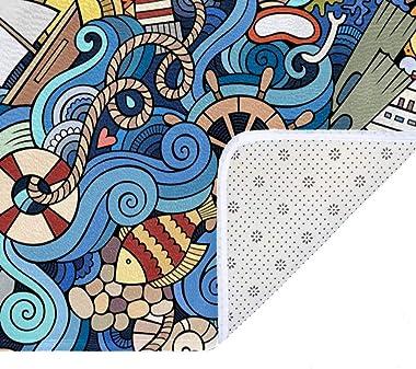 EGGDIOQ Doormats Cartoon Marine Style Wave Wheel Pattern Custom Print Bathroom Mat Waterproof Fabric Kitchen Entrance Rug, 23